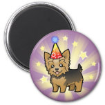 Birthday Yorkshire Terrier (short hair with bow) 2 Inch Round Magnet