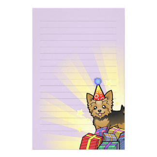 Birthday Yorkshire Terrier (short hair with bow) Stationery