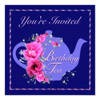 Birthdayl Tea Invitations Teapot and Pink Flowers