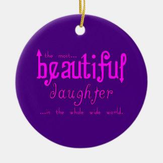 Birthdays Parties Christmas : Beautiful Daughter Double-Sided Ceramic Round Christmas Ornament