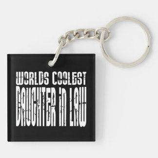Birthdays Parties : Worlds Coolest Daughter in Law Double-Sided Square Acrylic Keychain