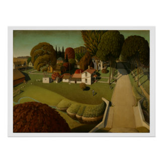 """""""Birthplace of Herbert Hoover"""" by Grant Wood Poster"""