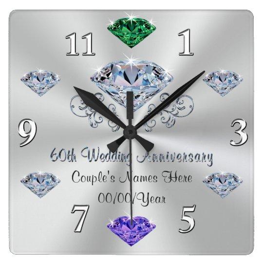Birthstone 60th Wedding Anniversary Gift Ideas Square Wall Clock