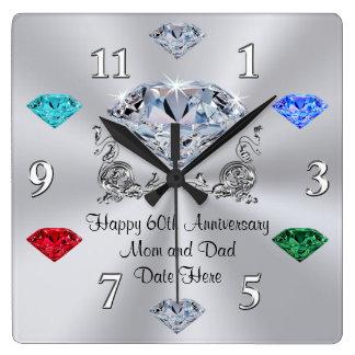 Birthstone Diamond Anniversary Clock for Parents