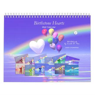 Birthstone Hearts and Balloons Calendar