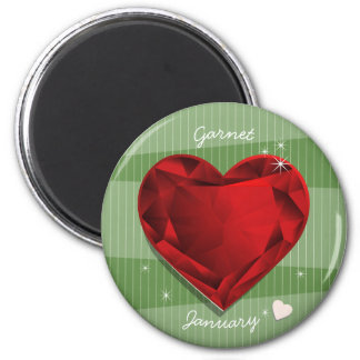 Birthstones January Garnet Red Heart Magnet