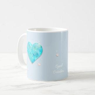 Birthstones October Blue Opal Heart Coffee Mug