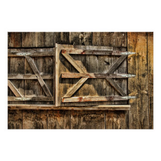 Bisagras de madera de la ventana de la puerta de g póster