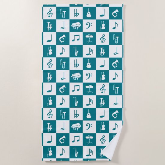 Biscay Bay teal Music Notes and Instruments Beach Towel