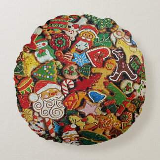 """Biscotti di Natale - """"Christmas Cookies"""" Round Pillow"""