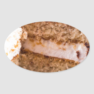Biscuit with chocolate and a layer of milk souffle oval sticker