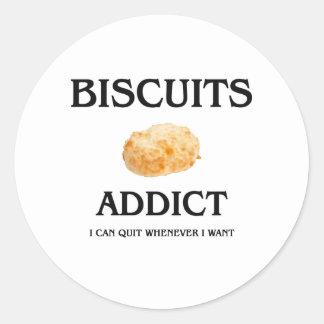 Biscuits Addict Round Sticker
