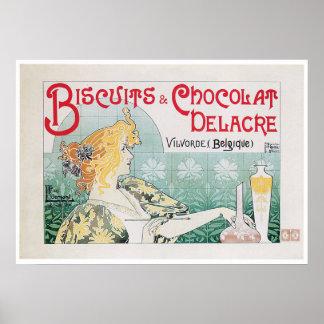Biscuits Chocolate Vintage Food Ad Art Poster