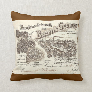 """Biscuits Georges"" French Advertising Throw Pillow"