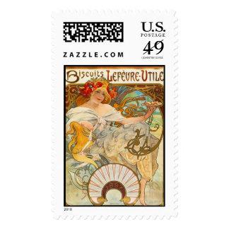 Biscuits Lefèvre, Alphonse Mucha - Postage Stamp