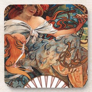 Biscuits Lefevre Utile by Alphonse Mucha Beverage Coaster