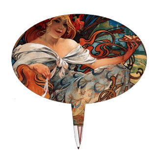 Biscuits Lefevre Utile by Alphonse Mucha Cake Topper