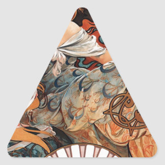 Biscuits Lefevre Utile by Alphonse Mucha Triangle Sticker