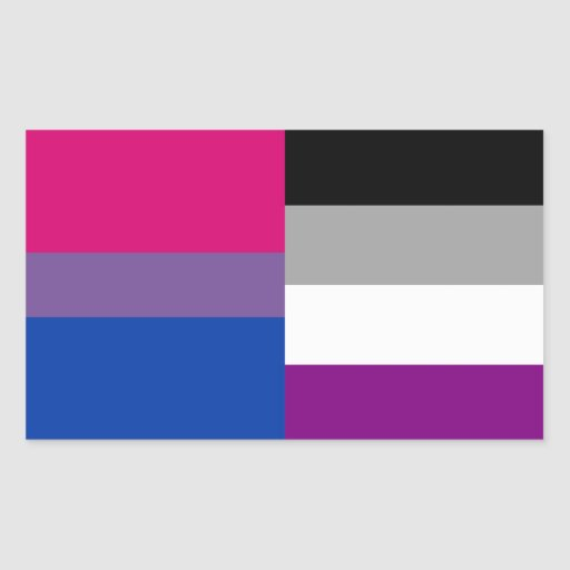 Bisexual/asexual flag stickers