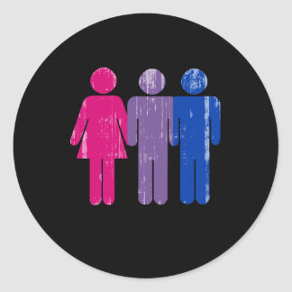 Bisexual Boy distressed.png Classic Round Sticker