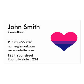 Bisexual flag heart business card