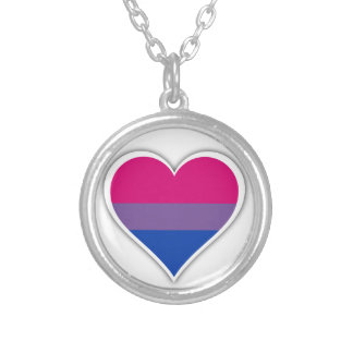 Bisexual flag heart silver plated necklace