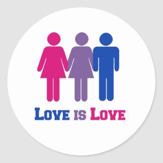 Bisexual Love is Love Classic Round Sticker