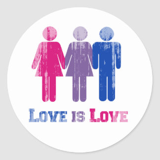 Bisexual Love is Love distressed Classic Round Sticker