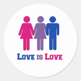 Bisexual Love is Love Round Sticker