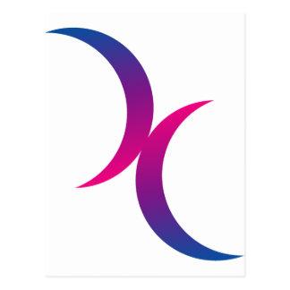 Bisexual moon symbol postcard