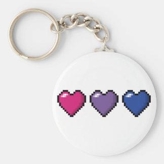 Bisexual Pixel Hearts Keychain