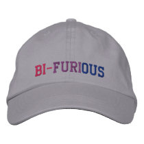 "Bisexual Power ""Bi-Furious"" LGBT Embroidered Baseball Cap"