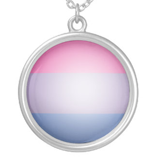BISEXUAL PRIDE 3D COLORS -.png Round Pendant Necklace