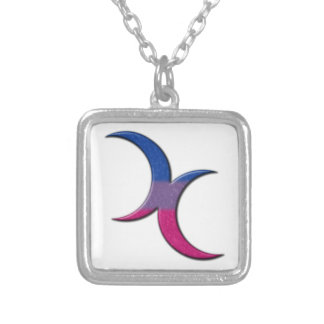 Bisexual Pride Crescent Moons Silver Plated Necklace