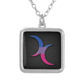 Bisexual Pride Crescent Moons Square Pendant Necklace