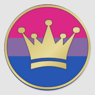 Bisexual Pride Crown Classic Round Sticker