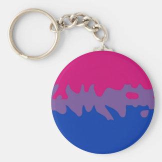 Bisexual Pride Flag Splash Basic Round Button Keychain