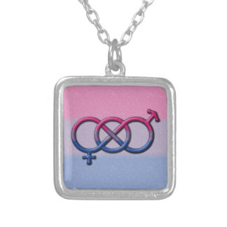 Bisexual Pride Gender Knot Square Pendant Necklace
