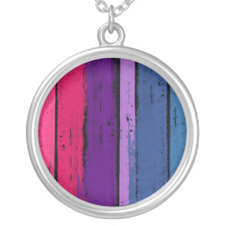 BISEXUAL PRIDE INK BAR -.png Round Pendant Necklace