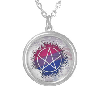 Bisexual Pride Pentacle Silver Plated Necklace