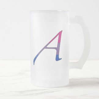 "Bisexual Pride ""Scarlet"" Letter A Frosted Glass Beer Mug"