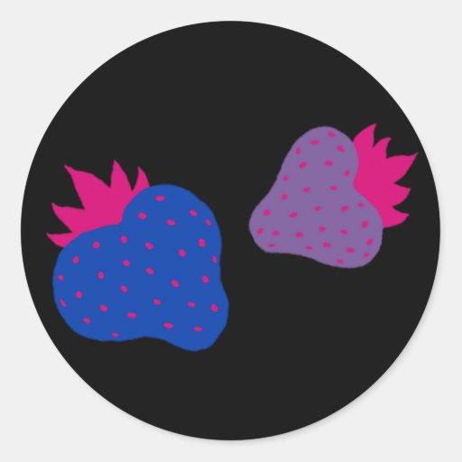 Bisexual Strawberries stickers (black)