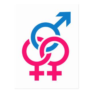 Bisexual symbols postcard