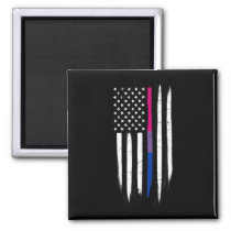 Bisexual Thin Line American Flag Magnet