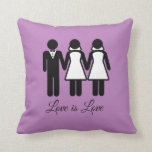 BISEXUAL WEDDING LOVE IS LOVE -.png Throw Pillow