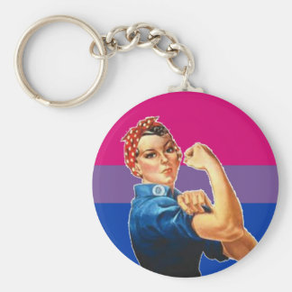 Bisexual Woman Pride Basic Round Button Keychain