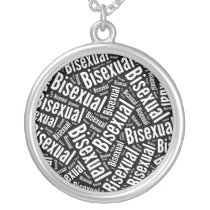 BISEXUAL WORD PATTERN WHITE -.png Silver Plated Necklace