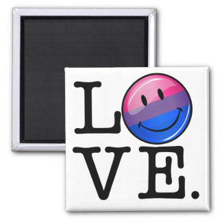 Bisexuality Flag inside the Word Love 2 Inch Square Magnet