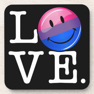 Bisexuality Flag inside the Word Love Coaster
