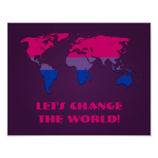 Bisexuality pride world map poster print